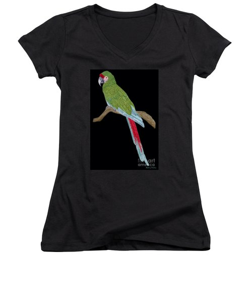 Military Macaw Women's V-Neck (Athletic Fit)