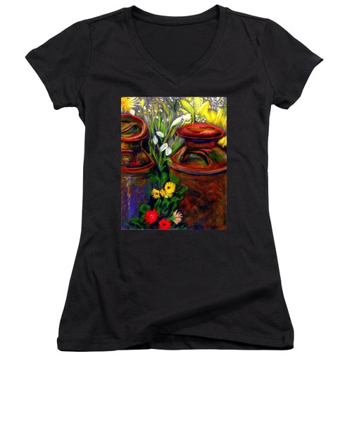 Milk Cans At Flower Show Sold Women's V-Neck T-Shirt