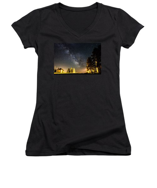 Milky Way From Oldham South Dakota Usa Women's V-Neck T-Shirt