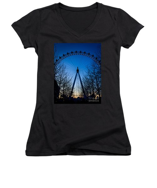 Women's V-Neck T-Shirt (Junior Cut) featuring the photograph Millennium Eye London At Twilight by Peta Thames