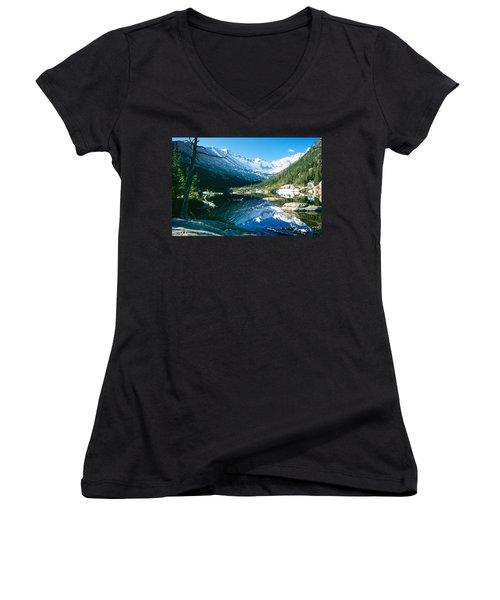 Mills Lake Women's V-Neck T-Shirt (Junior Cut) by Eric Glaser