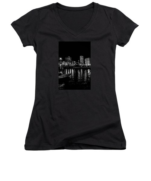 Milwaukee Downtown Third Ward Women's V-Neck T-Shirt (Junior Cut) by Susan  McMenamin