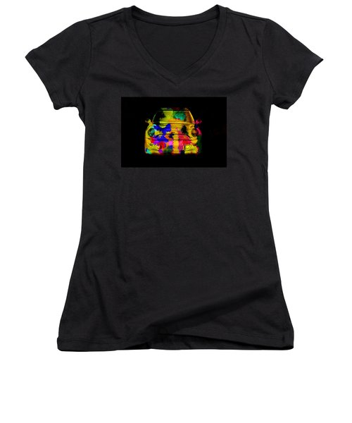 Mini Cooper Colorful Abstract On Black Women's V-Neck (Athletic Fit)