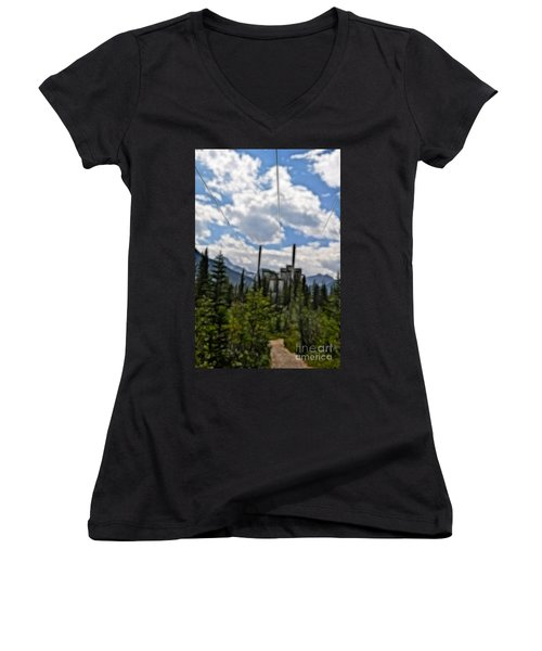 Mining Plant Fractal Women's V-Neck (Athletic Fit)