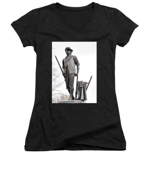 Minute Man Statue Women's V-Neck (Athletic Fit)