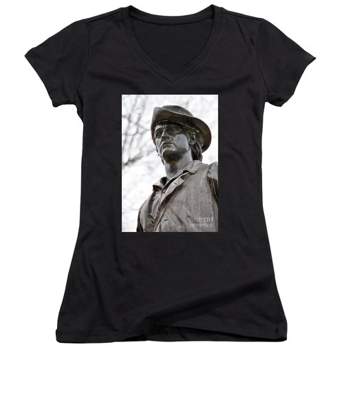 Minute Man Statue 3 Women's V-Neck (Athletic Fit)