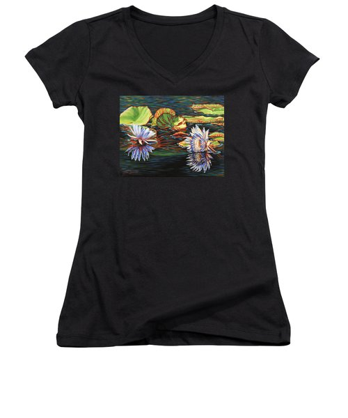 Women's V-Neck T-Shirt (Junior Cut) featuring the painting Mirrored Lilies by Jane Girardot
