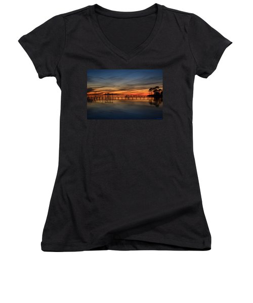 Women's V-Neck T-Shirt (Junior Cut) featuring the photograph Mirrored Sunset Colors On Santa Rosa Sound by Jeff at JSJ Photography