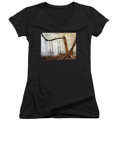 Missing Children Women's V-Neck T-Shirt (Junior Cut) by Marilyn  McNish