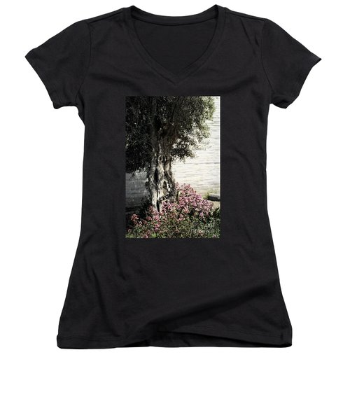 Women's V-Neck T-Shirt (Junior Cut) featuring the photograph Mission San Jose Tree Dedicated To The Ohlones by Ellen Cotton