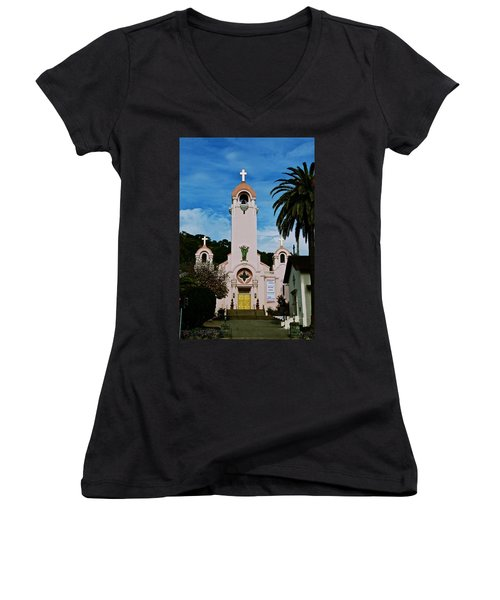 Mission San Rafael Women's V-Neck T-Shirt (Junior Cut) by Eric Tressler