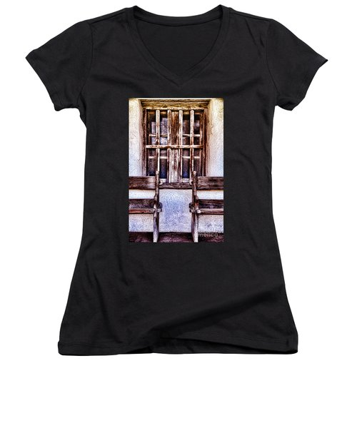 Mission Soledad Window Seating By Diana Sainz Women's V-Neck