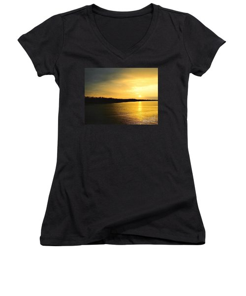 Women's V-Neck T-Shirt (Junior Cut) featuring the photograph Sunrise Over The Mississippi River Post Hurricane Katrina Chalmette Louisiana Usa by Michael Hoard