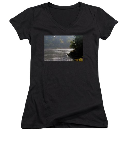 Women's V-Neck T-Shirt (Junior Cut) featuring the photograph Misty Morning by Kay Novy