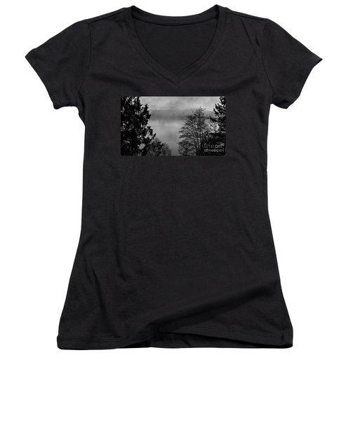 Misty Morning Sunrise Black And White Art Prints Women's V-Neck T-Shirt (Junior Cut) by Valerie Garner