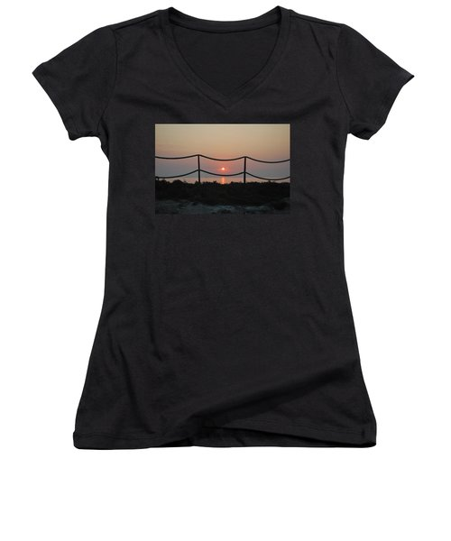 Misty Sunset 1 Women's V-Neck (Athletic Fit)