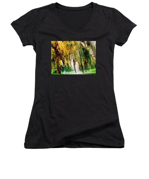 Misty Weeping Willow Tree Dreams Women's V-Neck T-Shirt (Junior Cut) by Carol F Austin