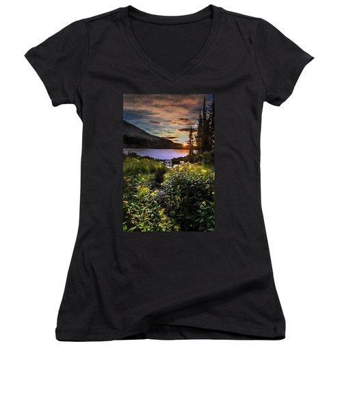 Mitchell Sunrise Women's V-Neck T-Shirt (Junior Cut) by Steven Reed