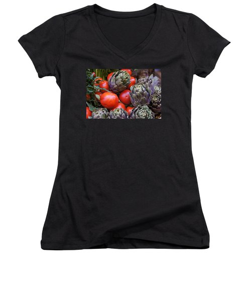 Articholes And Tomatoes Women's V-Neck T-Shirt (Junior Cut) by Debi Demetrion