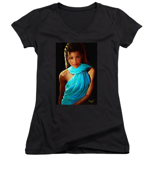 Women's V-Neck T-Shirt (Junior Cut) featuring the painting Well Fed Model by Anthony Mwangi