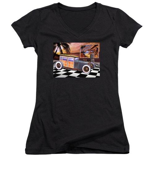 Model T Surf Woody Women's V-Neck T-Shirt