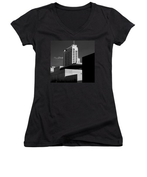 Modern Art Deco Architecture Black White Women's V-Neck