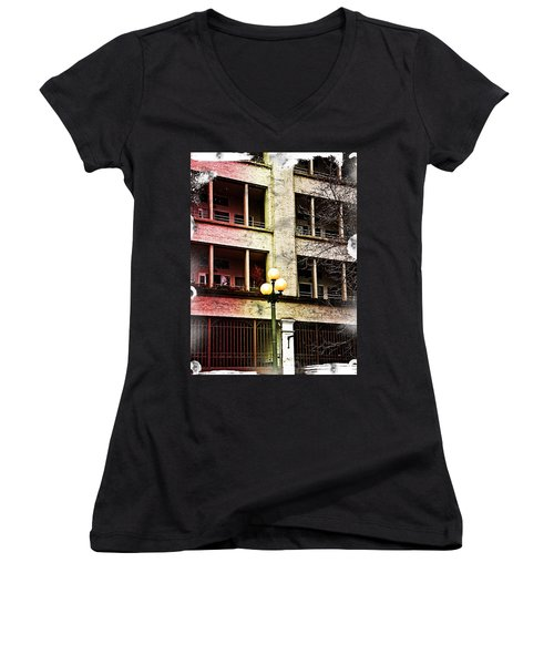 Modern Grungy City Building  Women's V-Neck T-Shirt (Junior Cut) by Valerie Garner