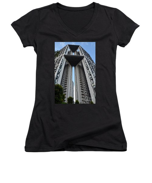 Women's V-Neck T-Shirt (Junior Cut) featuring the photograph Modern Skyscraper Apartment Building Singapore by Imran Ahmed