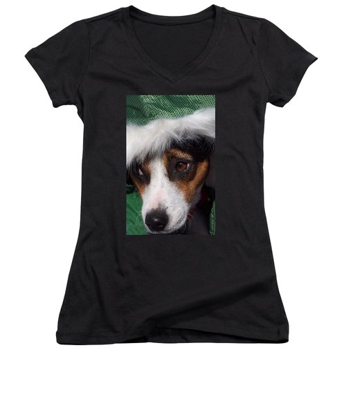 Mojo's New Holiday Coat Women's V-Neck T-Shirt (Junior Cut) by Claudia Goodell
