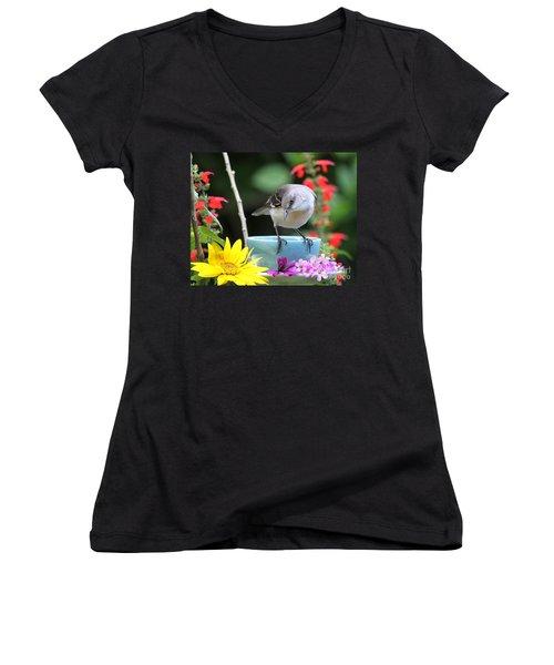 Mockingbird And Teacup Photo Women's V-Neck T-Shirt (Junior Cut) by Luana K Perez