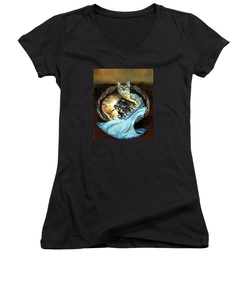 Women's V-Neck T-Shirt (Junior Cut) featuring the painting Mom With Her Kittens by Donna Tucker