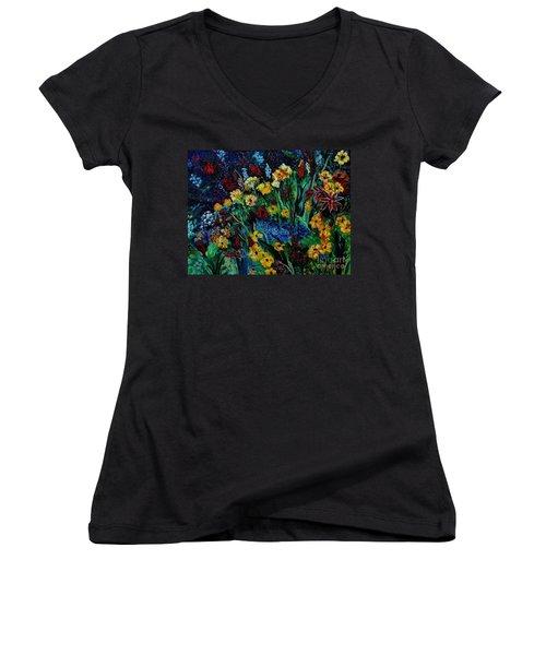 Moms Garden II Women's V-Neck T-Shirt (Junior Cut) by Julie Brugh Riffey