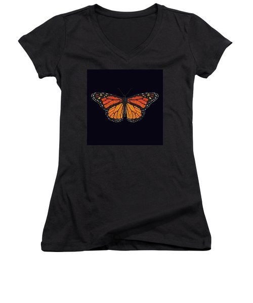 Monarch Butterfly Bedazzled Women's V-Neck