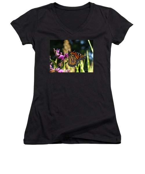 Women's V-Neck T-Shirt (Junior Cut) featuring the photograph Monarch Butterfly by Lingfai Leung