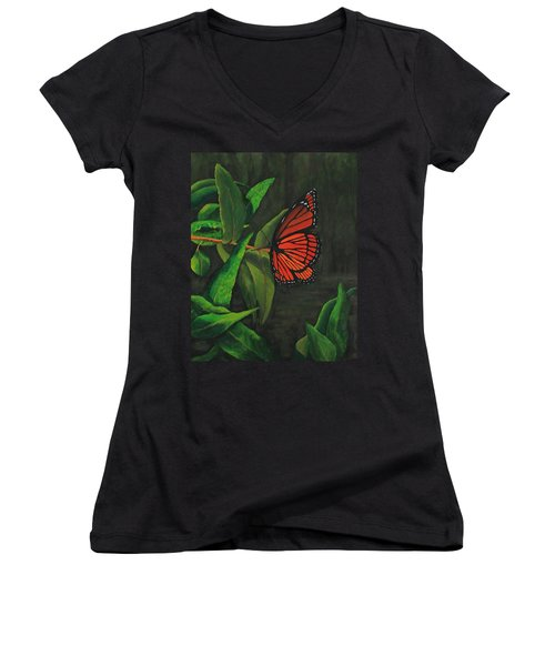 Viceroy Butterfly Oil Painting Women's V-Neck (Athletic Fit)