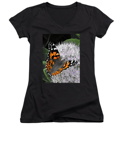Women's V-Neck T-Shirt (Junior Cut) featuring the photograph Monarch by Photographic Arts And Design Studio