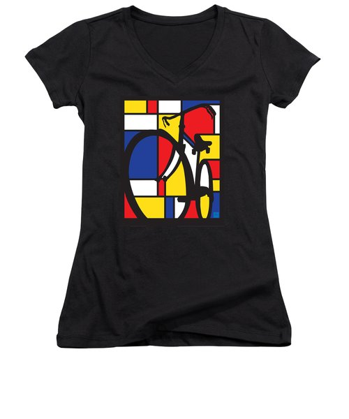 Mondrian Bike Women's V-Neck (Athletic Fit)