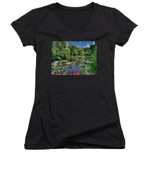 Monet's Lily Pond At Giverny Women's V-Neck (Athletic Fit)