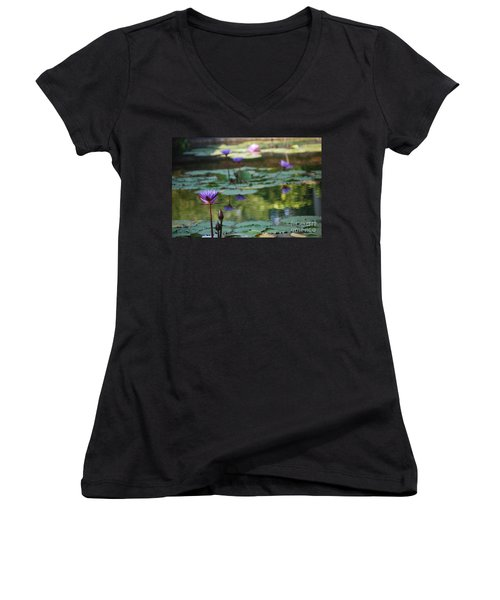 Monet's Waterlily Pond Number Two Women's V-Neck T-Shirt (Junior Cut) by Heather Kirk