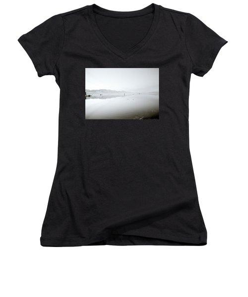 Mono Lake Serenity Women's V-Neck T-Shirt (Junior Cut) by Shaun Higson