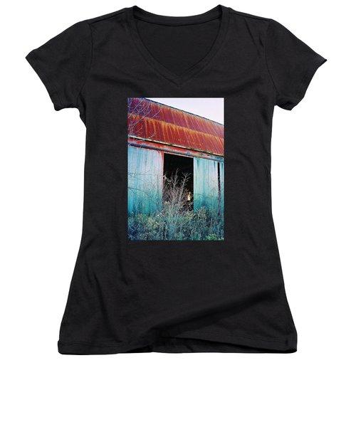Monroe Co. Michigan Barn Women's V-Neck T-Shirt (Junior Cut) by Daniel Thompson