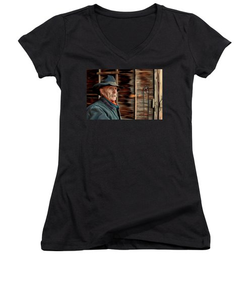 Women's V-Neck T-Shirt (Junior Cut) featuring the painting Montana Cowboy by Michael Pickett