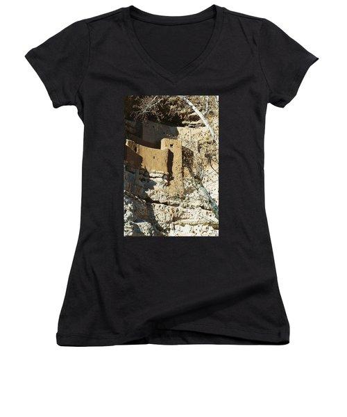 Women's V-Neck T-Shirt (Junior Cut) featuring the photograph Montezuma's Castle by Kerri Mortenson