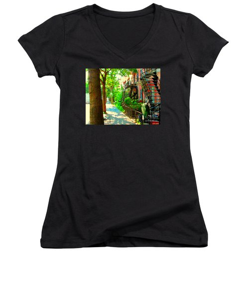 Montreal Art Colorful Winding Staircase Scenes Tree Lined Streets Of Verdun Art By Carole Spandau Women's V-Neck