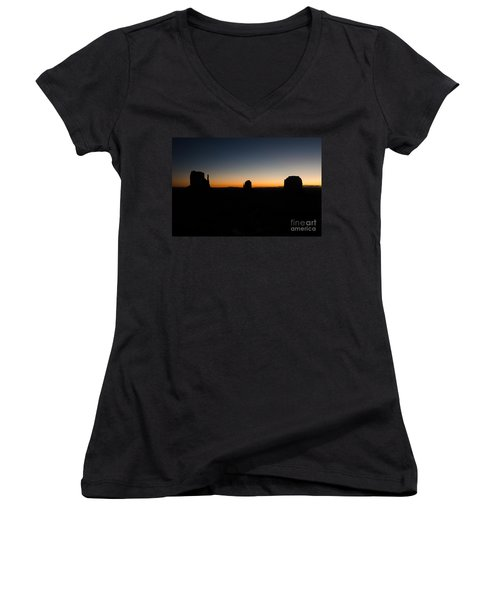 Monument Valley Sunrise Women's V-Neck T-Shirt (Junior Cut) by Jeff Kolker