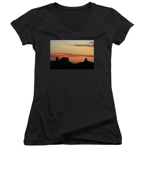 Monument Valley Sunset 1 Women's V-Neck T-Shirt (Junior Cut) by Jeff Brunton