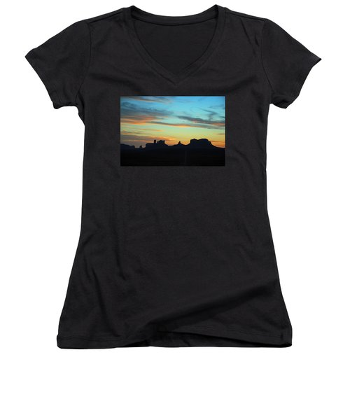Monument Valley Sunset 4  Women's V-Neck T-Shirt (Junior Cut) by Jeff Brunton