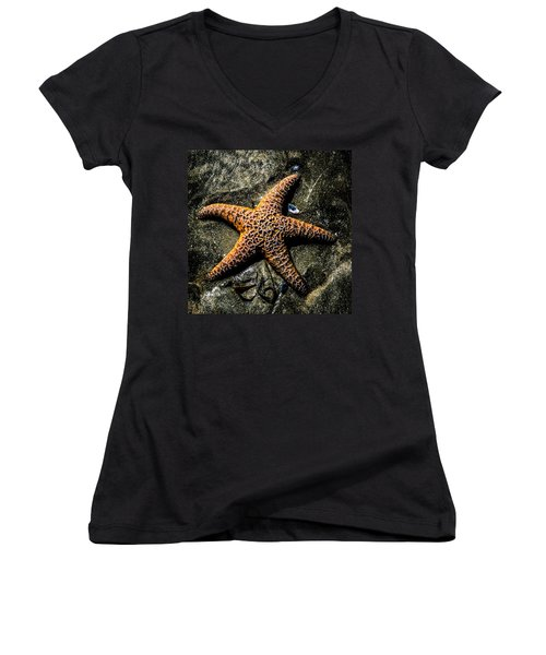 Women's V-Neck featuring the photograph Moody Starfish II by Roxy Hurtubise