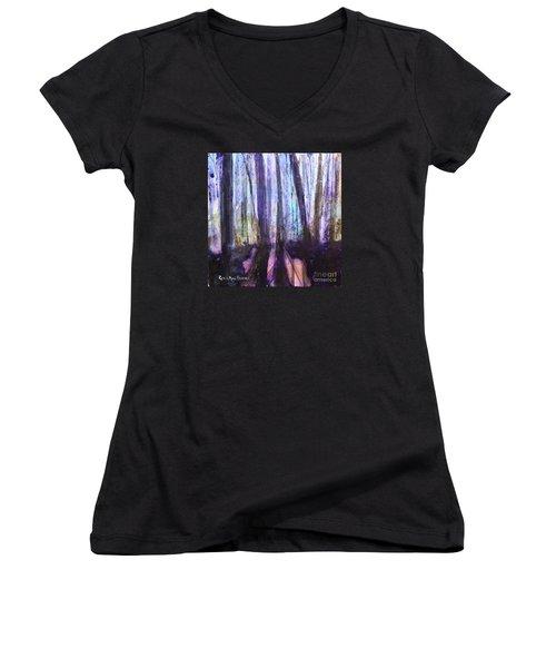 Moody Woods Women's V-Neck T-Shirt (Junior Cut) by Robin Maria Pedrero