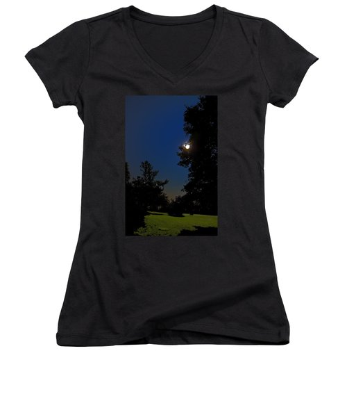 Women's V-Neck T-Shirt (Junior Cut) featuring the photograph Moon And Pegasus by Greg Reed